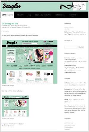 Abbildung der Douglas Website.