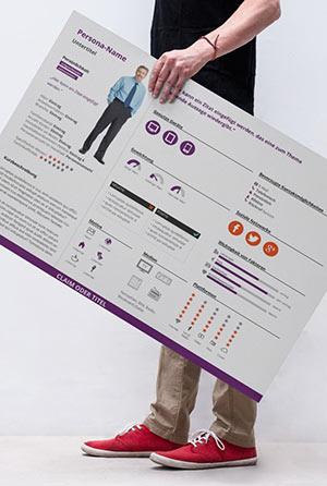 Ein Mann hält ein großes Schild mit der Abbildung einer Persona und wichtigen Informationen zu dieser.