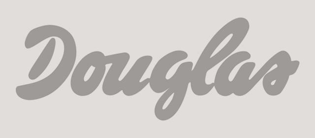 Schwarzweiß Logo der Douglas GmbH.