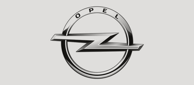 Schwarzweiß Logo der Opel Automobile GmbH.