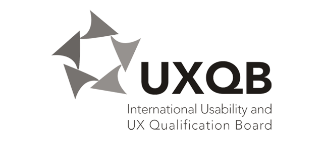 Schwarzweiß Logo des UXQB - International Usability and User Experience Qualification Board e.V.