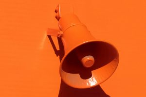 Oranges Megafon vor orangem Hintergrund.