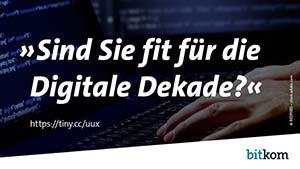 """Wallpaper des Bitkom mit der Aufschrift """"Sind Sie fit für die Digitale Dekade?"""""""