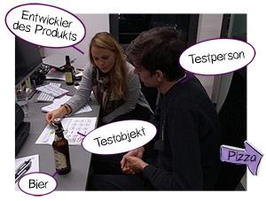 Bild eines Testessen mit gesetzten Sprechblasen.