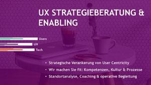 """Titelbild der Sparte """"UX Strategieberatung und Enabling""""."""