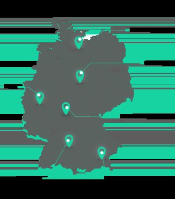 Standorte der Eresult GmbH auf einer Deutschlandkarte markiert.