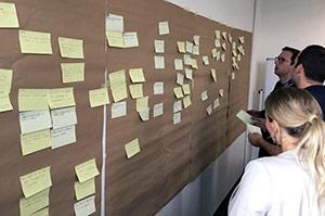 """Misumi-Fallstudie:Teilnehmer sammeln und ordnen """"How might we""""-Fragen verschiedenen Bereichen zu"""