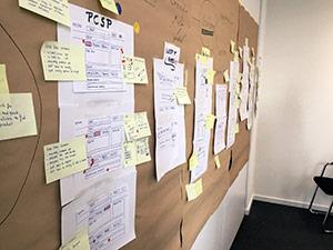 Misumi-Fallstudie: Foto einePinnwand mit angehefteten Lösungsskizzen