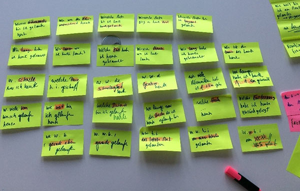 Whiteboard mit Post-Its: detaillierte Dialoganalyse