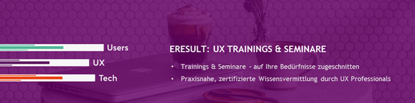 Banner für die eresult UX-Training-Seminare
