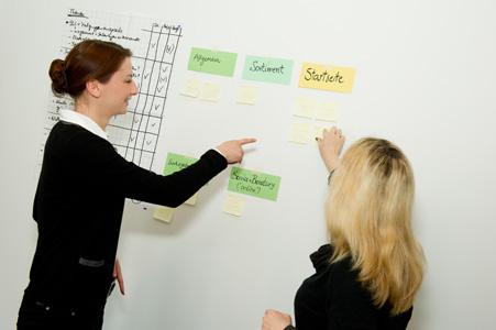 Zwei Personen stehen vor einem beschrifteten Whiteboard und unterhalten sich und dokumentieren Ergebnisse.