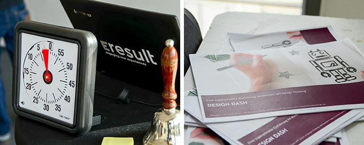 Das erste Bild zeigt eine Stoppuhr vor einem Laptop. Das zweite Bild zeigt Dokumente auf einem Tisch
