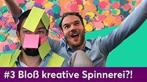 """Titelbild des Videos """"UX Design Sprints #3 – Bloß kreative Spinnerei?!"""" zeigt Konfetti, ein Mann beklebt mit bunten Notizzetteln und einen jubelnden Mann"""