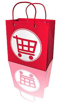 Bild einer Roten Einkaufstasche mit einem aufegemalten Einkaufswagen.