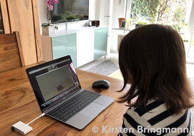 Probandenansicht:Proband sitzt vor einem Laptop. Testobjekt ist ein VUI, das remote gesteuert wird