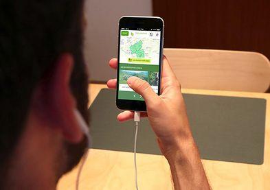 Ansicht aus Probandensicht, Testobjekt in mobiler Anwendung. Proband steuert remote