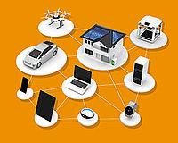 Darsrtellung von elektronischen Geräten, die miteinander vernetzt sind.