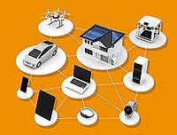 Darstellung von verschiedenen Elektrogeräten, die miteinander vernetzt sind.