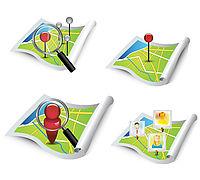 Gezeichnete Karten mit Figuren und Lupen Icons.