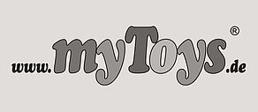 "Schwarzweiß Logo des Onlineshops ""www.myToys.de""."