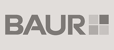 Schwarzweiß Logo der BAUR Group.
